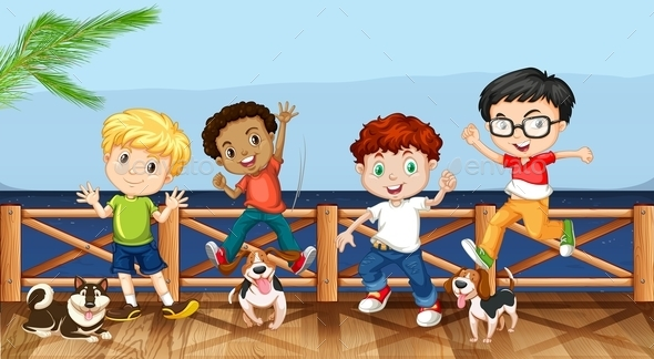 Little Boys and Their Pet Dogs - People Characters