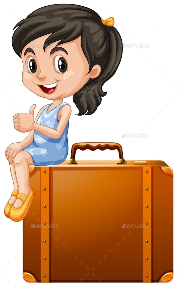 Little Girl Sitting on a Suitcase - People Characters