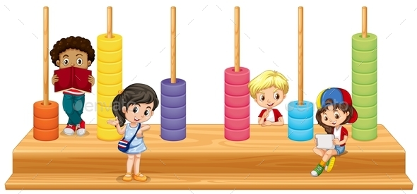 Children and Math Game - People Characters