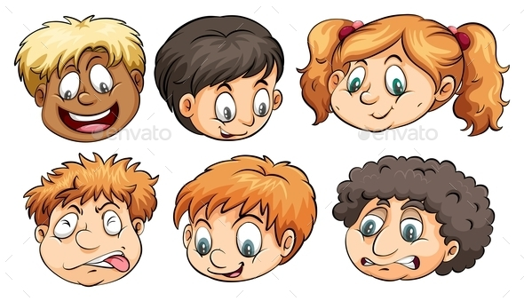 Six Heads with Different Emotions - People Characters