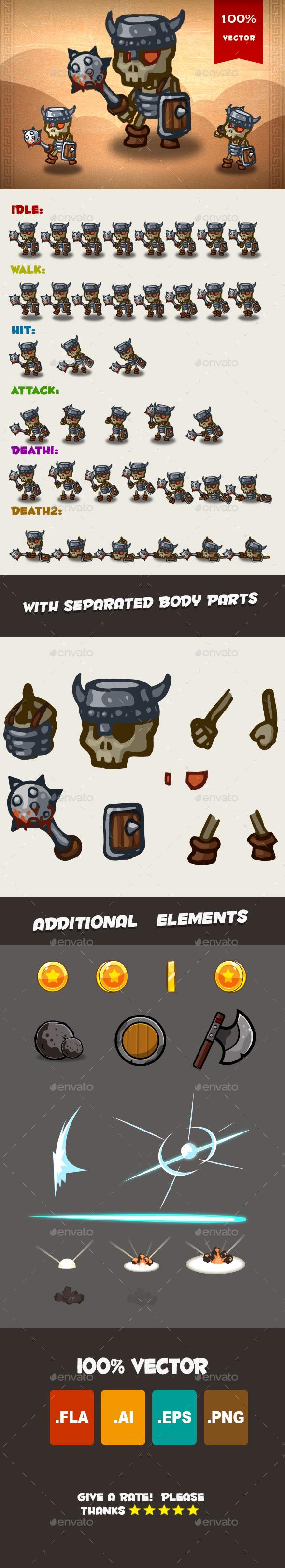 Skeleton Spritesheet o2 - Sprites Game Assets