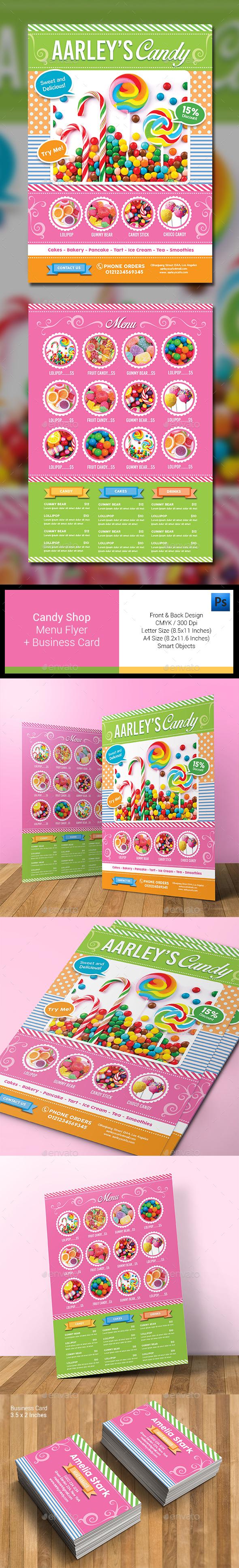 Candy Shop Menu Flyer - Food Menus Print Templates