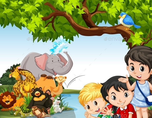 Children and Wild Animals by the Pond - People Characters