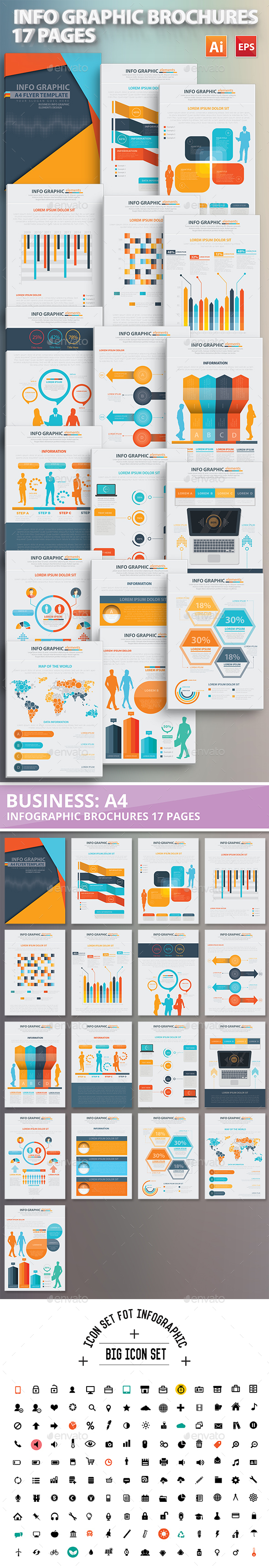 17 Pages Info Graphic Brochures Design - Infographics