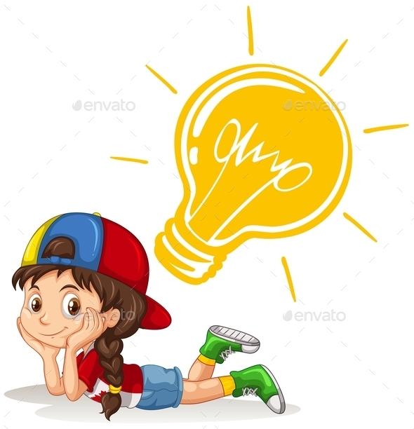 Little Girl with Lightbulb on Her Head - People Characters