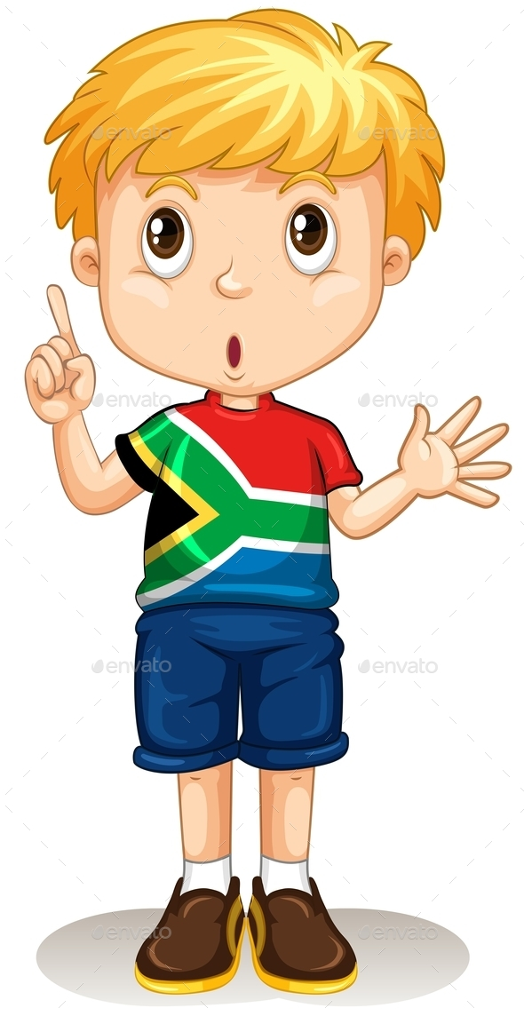South African Boy Pointing His Finger - People Characters