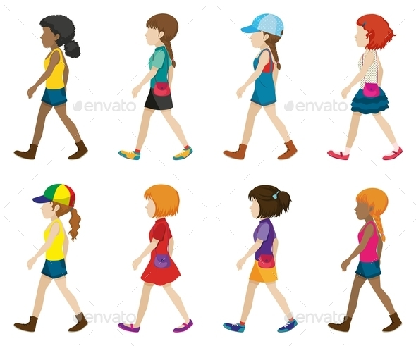 Faceless Young Ladies Walking - People Characters