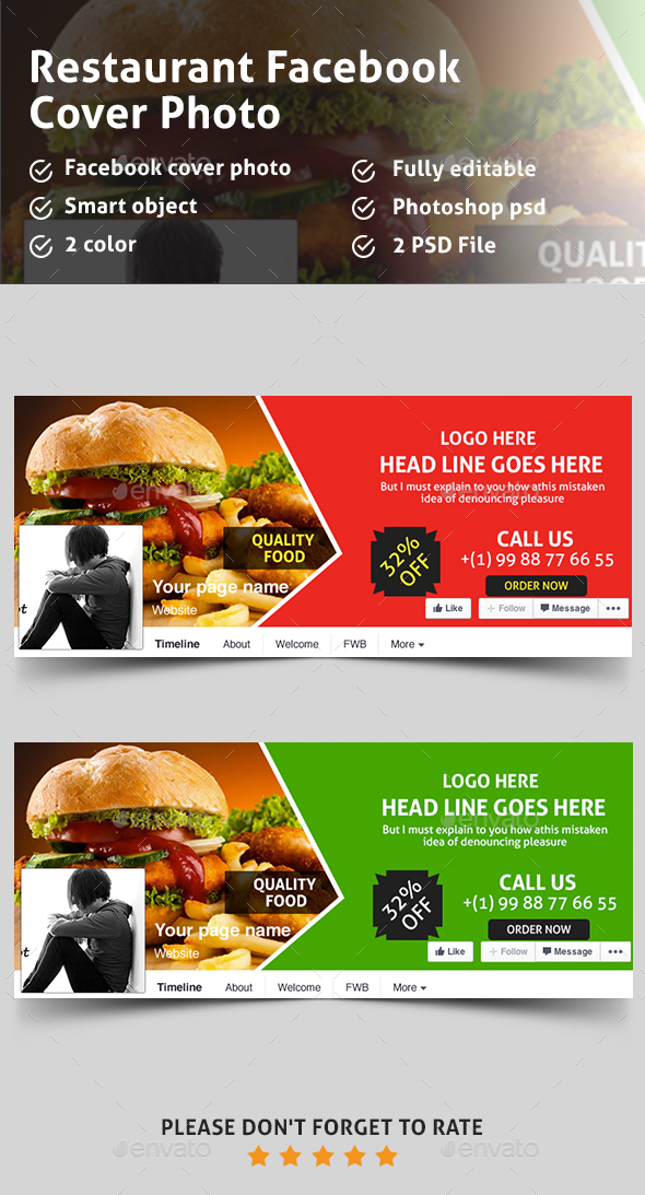 Food restaurant facebook covers by pixelpick graphicriver