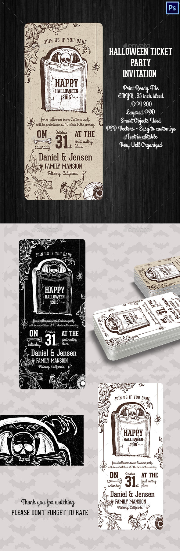 Halloween Ticket Party Invitation by Squirrel92 | GraphicRiver