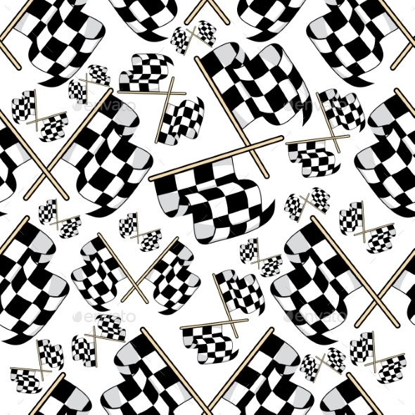Seamless Pattern Of Motor Racing Flags - Backgrounds Decorative