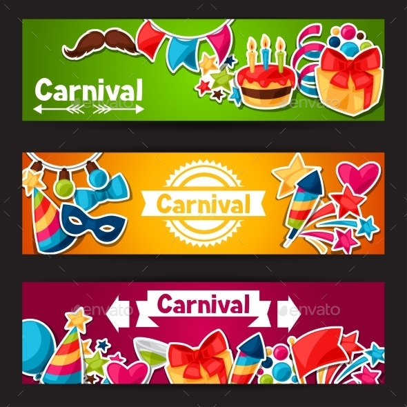 Carnival Show And Party Banners With Celebration - Seasons/Holidays Conceptual
