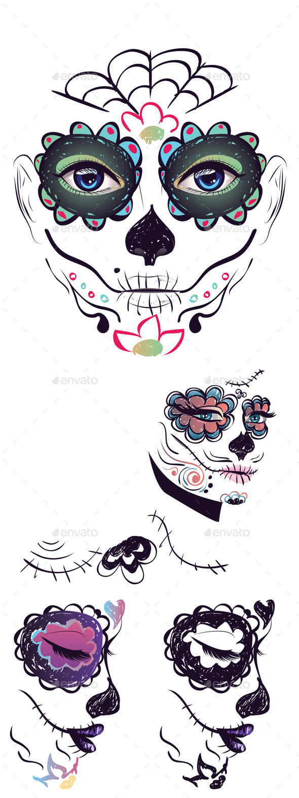 Day of Dead Girl Face - Halloween Seasons/Holidays