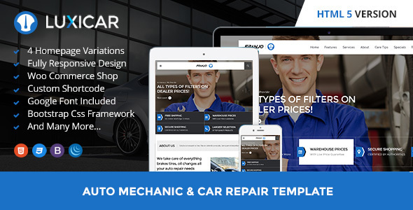 Luxicar Automotive & Business HTML5 template - Corporate Site Templates