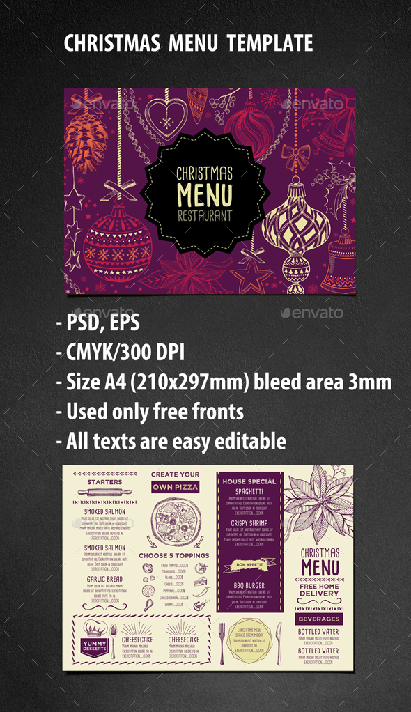 Christmas Restaurant Template - Food Menus Print Templates