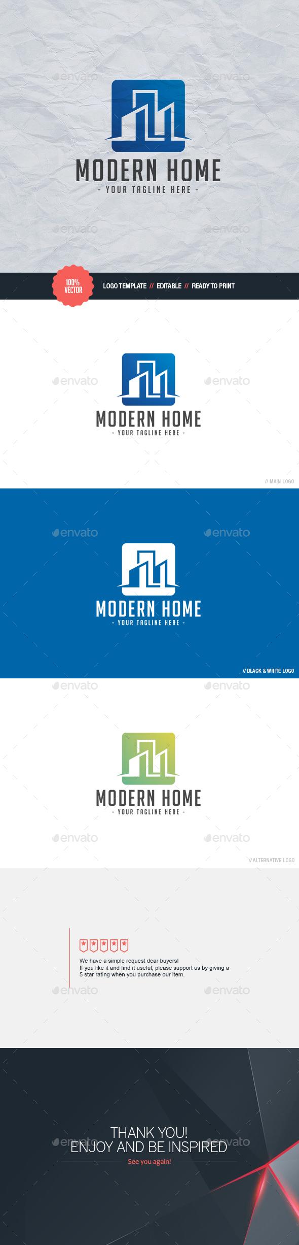 Modern Home Logo - Buildings Logo Templates