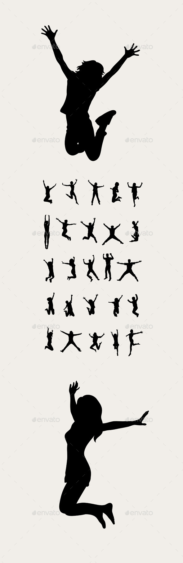 Happy Jumping Silhouettes - People Characters