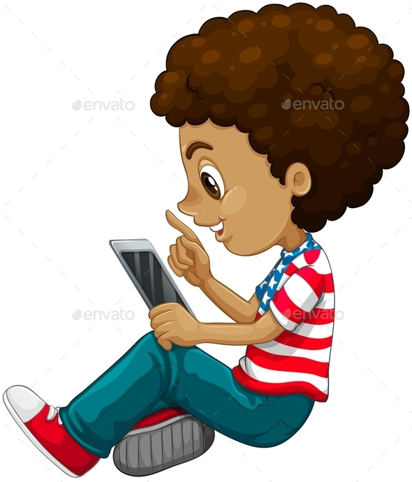 Curly Hair Boy Using Tablet Computer By Blueringmedia