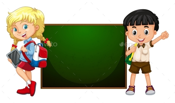 Boy and Girl Standing by the Board - People Characters