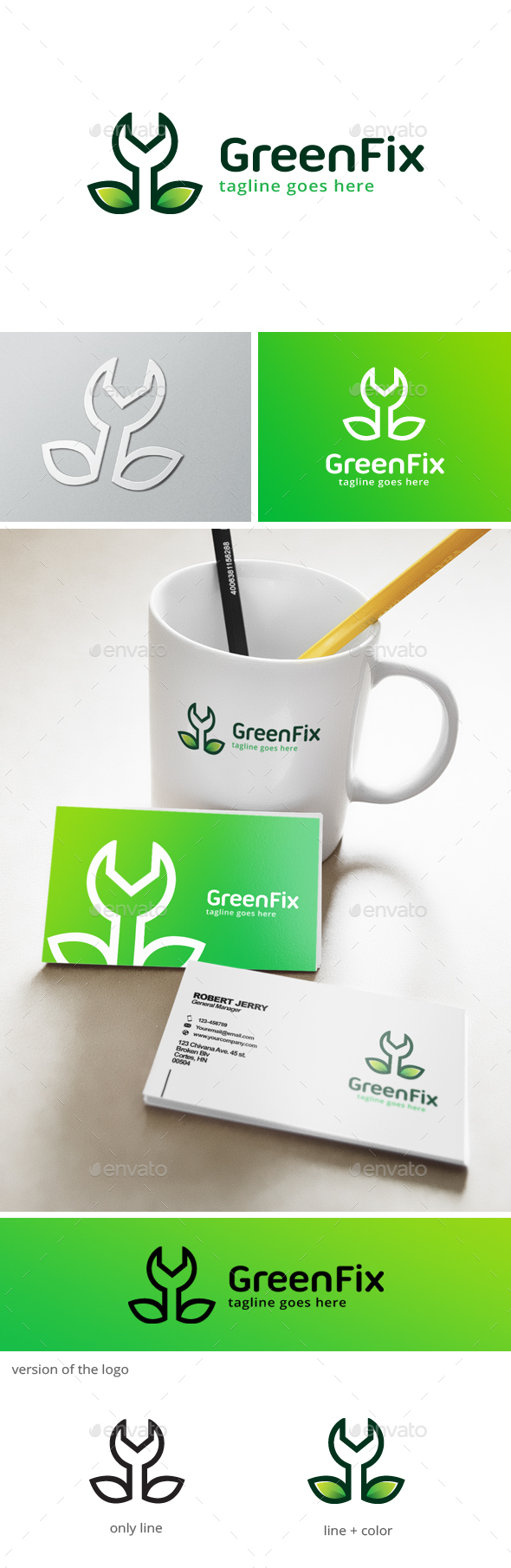 Green Fix Logo - Nature Logo Templates