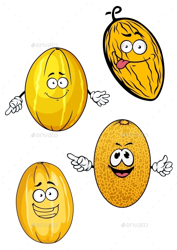 Ripe Yellow Cartoon Melon Fruits - Food Objects