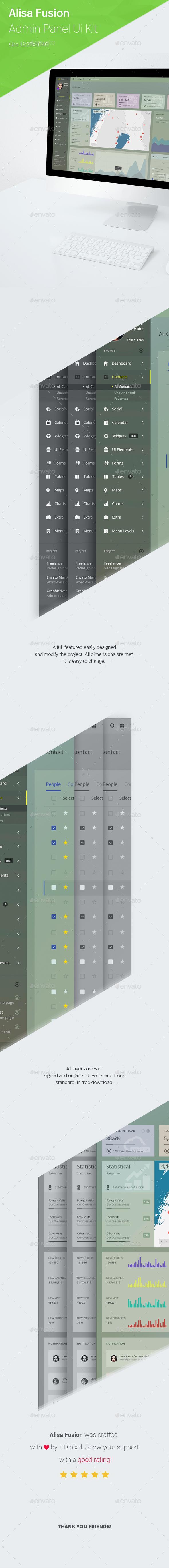 Alisa Fusion - Responsive Admin Template  - User Interfaces Web Elements