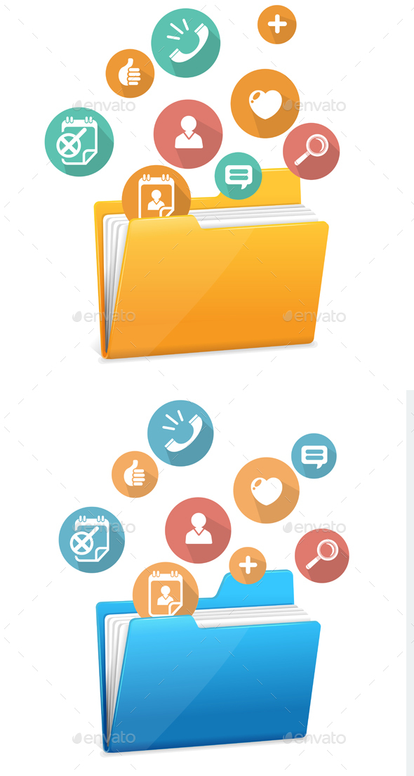 File Folder Icon and Flat Icons. Vector - Concepts Business
