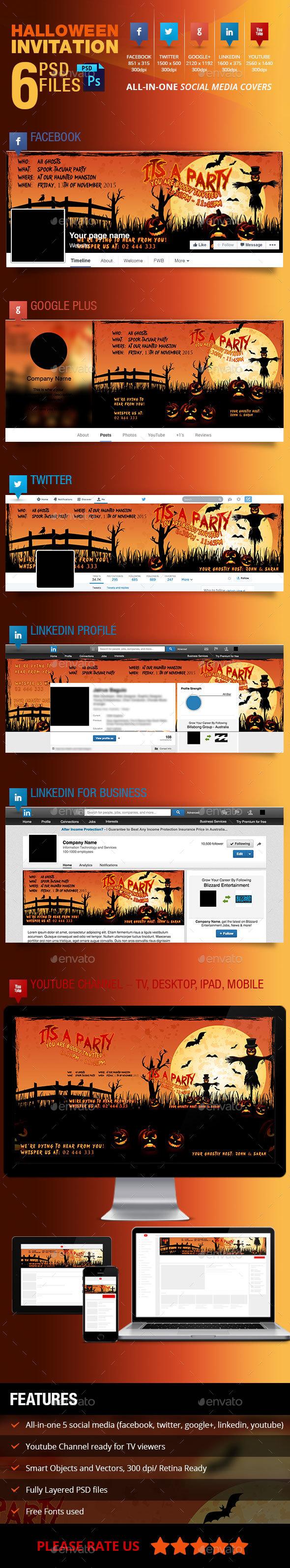 Halloween Party Invitation Social Media Cover - Social Media Web Elements
