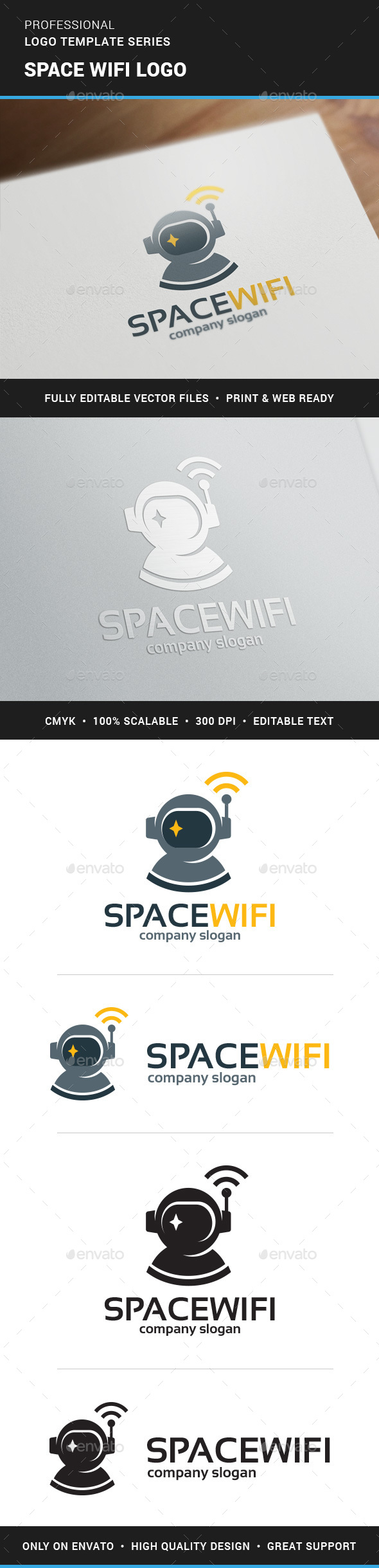 Space Wifi Logo Template - Logo Templates