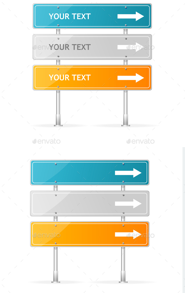 Blank Traffic Sign with White Arrow Header. Vector - Business Conceptual