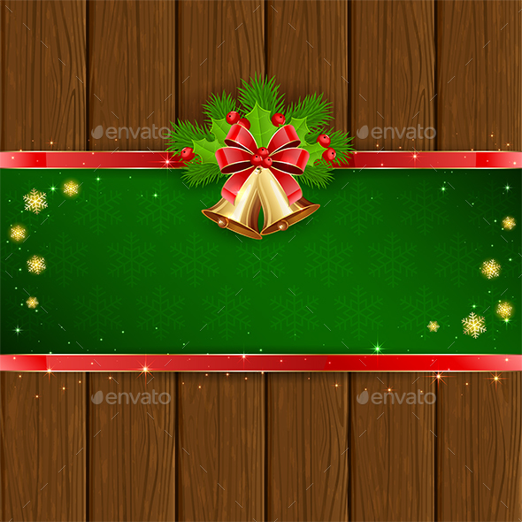 Christmas Decorations on Wooden Background - Christmas Seasons/Holidays