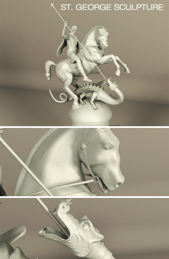 Saint George Sculpture - 3DOcean Item for Sale