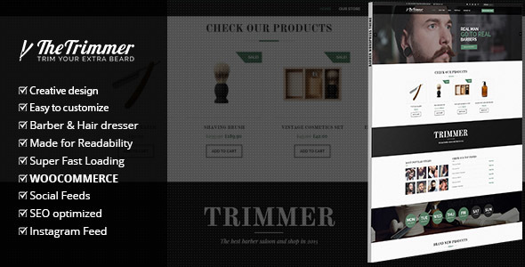 Trimmer - WordPress Theme for Barber Shops - WooCommerce eCommerce