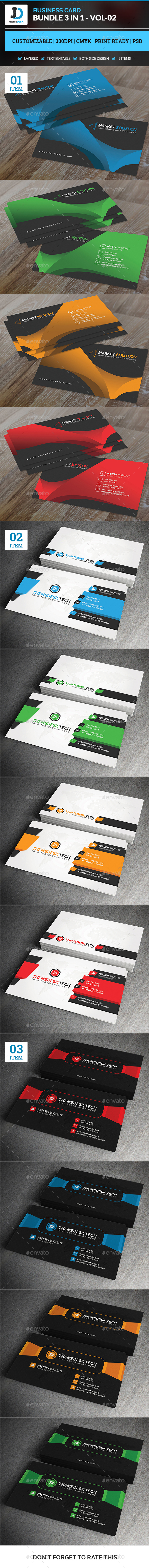 Business Card Bundle 3 in 1 - Vol-2 - Corporate Business Cards
