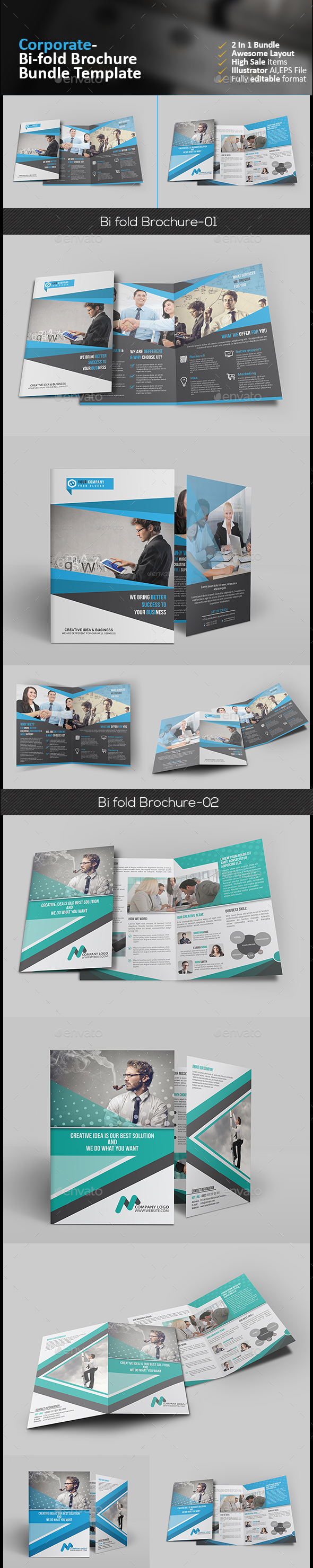 Bi Fold Brochure Bundle 2 in 1  - Corporate Brochures