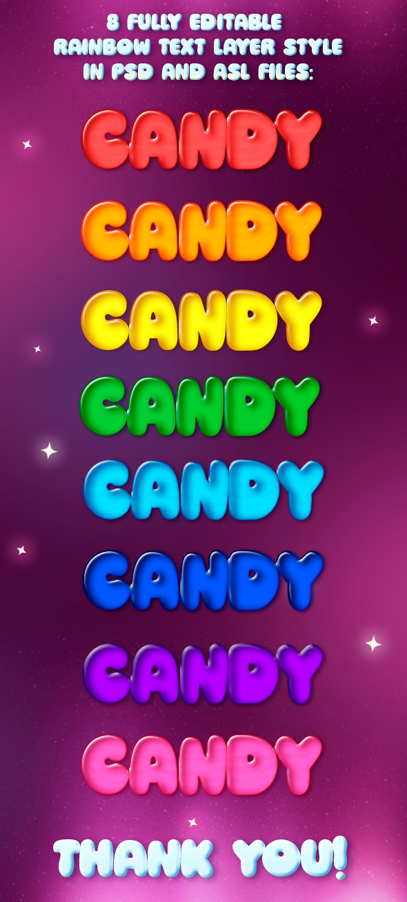 8 Rainbow 3D Cartoon Candy Styles  - Text Effects Styles