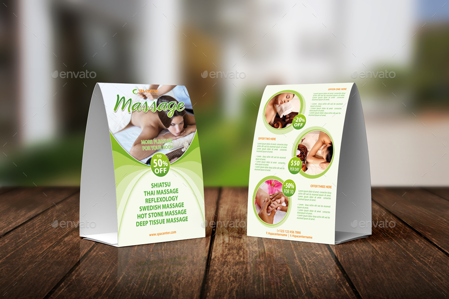 Massage And Spa Center Table Tent Template 34 By 21min