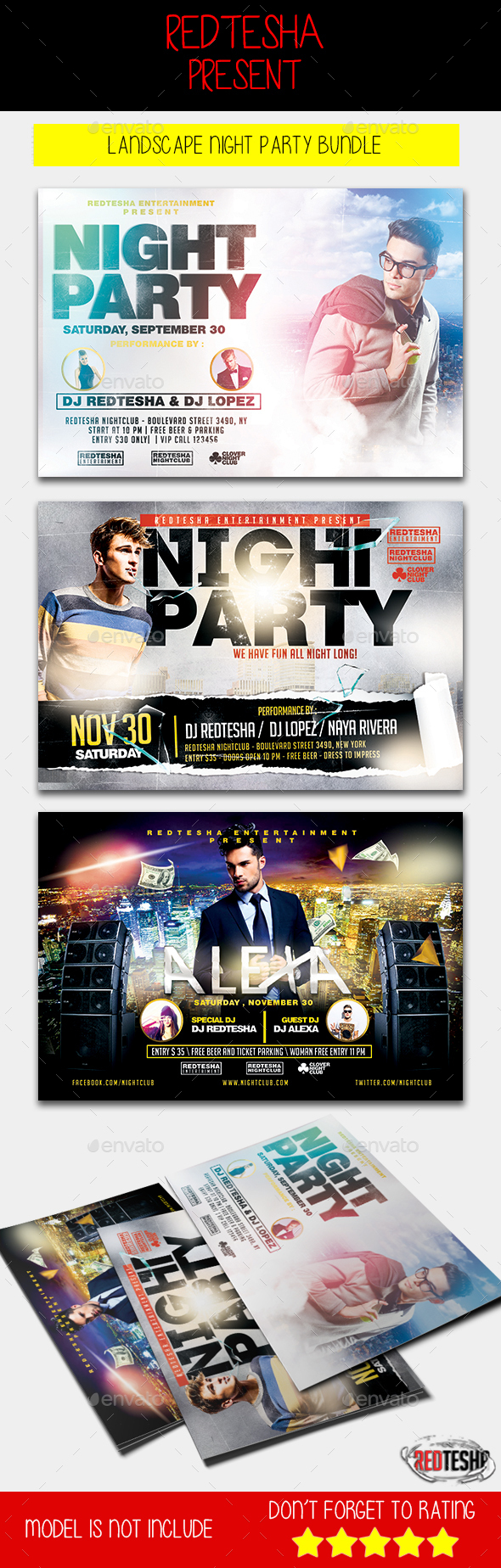 Landscape Night Party Flyer Bundle - Clubs & Parties Events