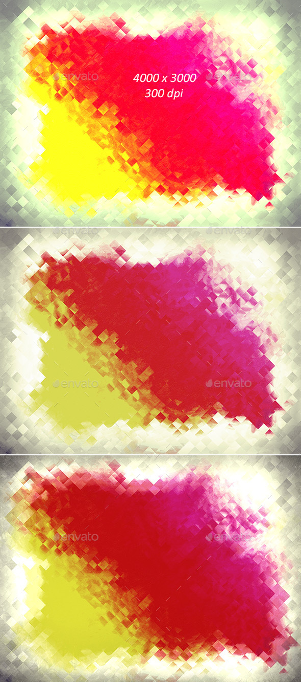 Water Color Pixel Backgrounds - 2  - Abstract Backgrounds