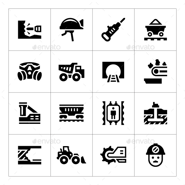 Set Icons of Mining - Man-made objects Objects