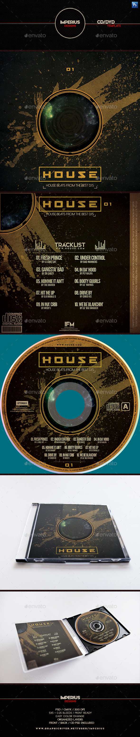 House CD/DVD Cover - CD & DVD Artwork Print Templates