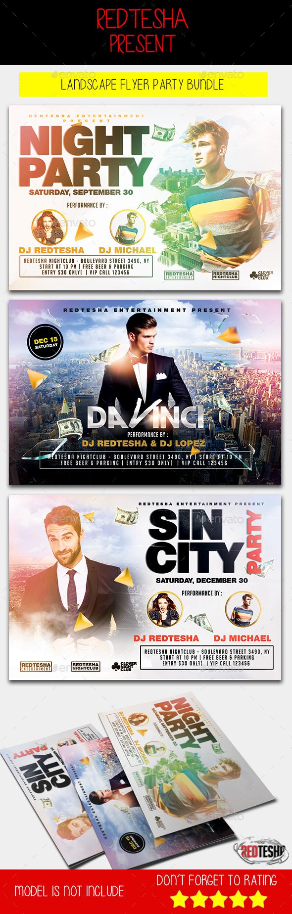 Landscape Flyer Party Bundle - Clubs & Parties Events