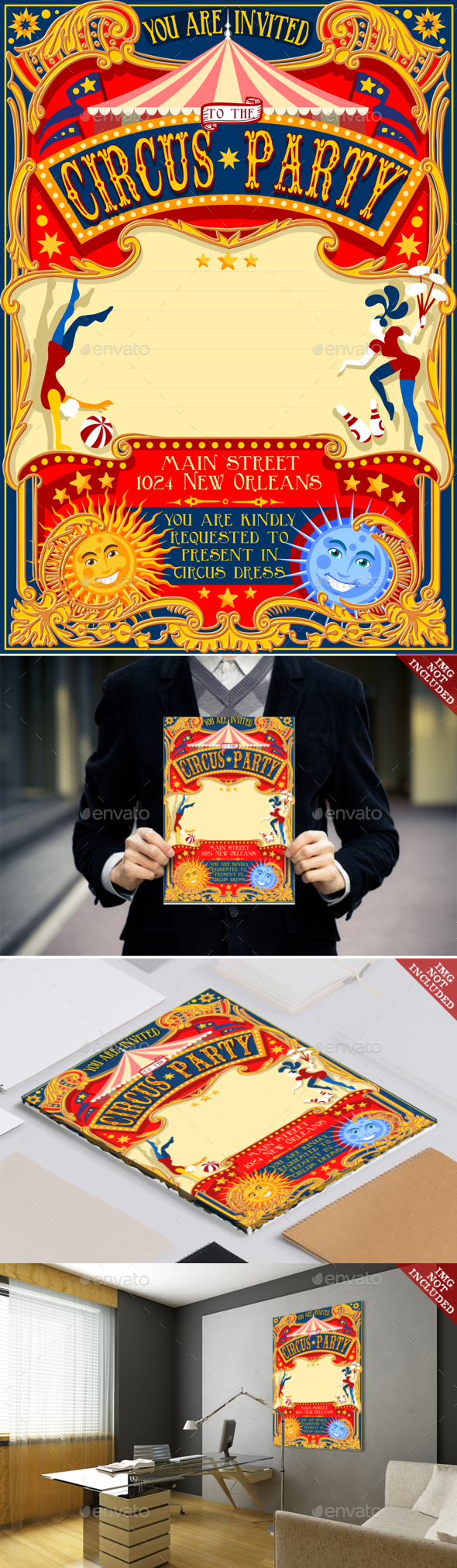 Circus Invitation Vintage 2D - Backgrounds Decorative