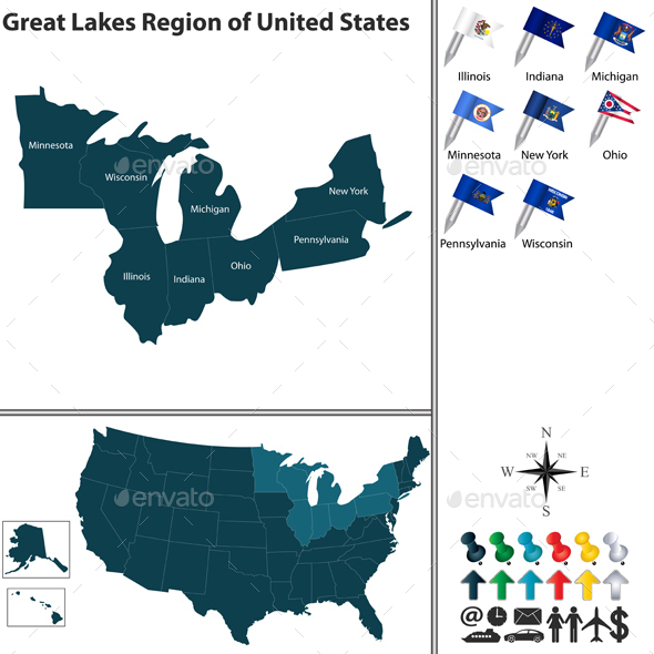 Great Lakes Region of United States - Travel Conceptual