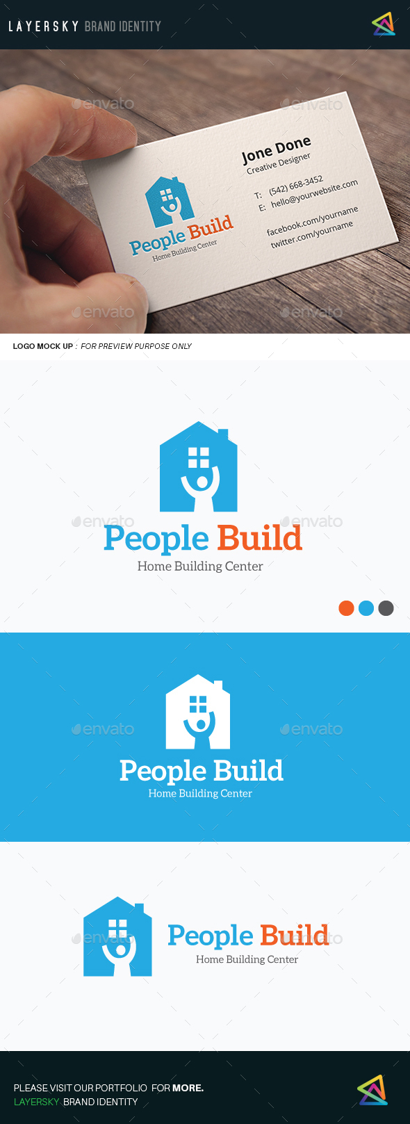 People Build Logo - Buildings Logo Templates