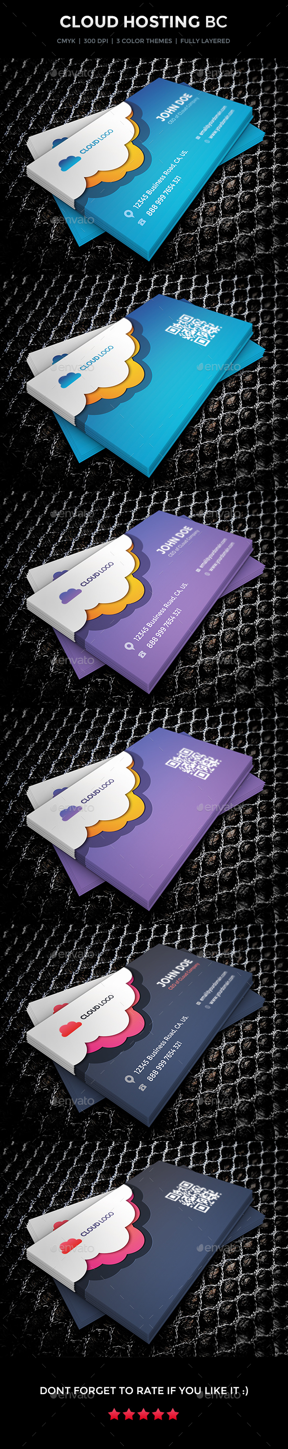 Cloud Hosting Business Card Design - Business Cards Print Templates