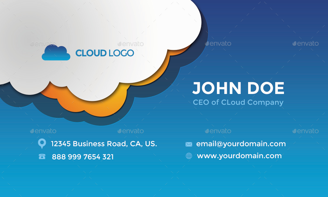Cloud Hosting Business Card Design by themeboo | GraphicRiver