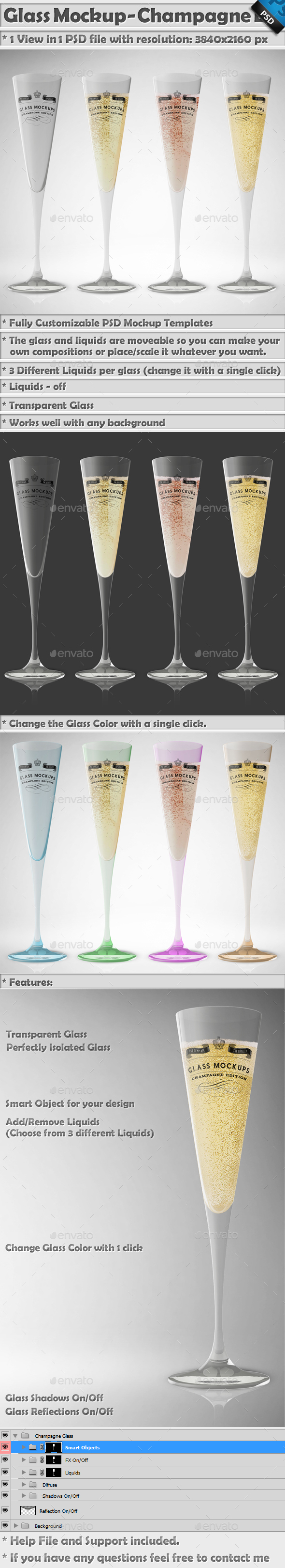 Glass Mockup - Champagne Glass Mockup Volume 10 - Food and Drink Packaging