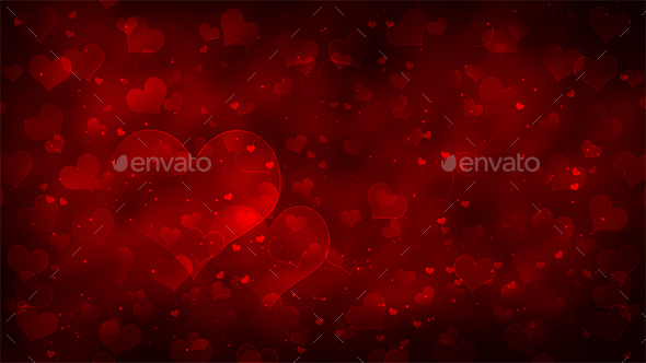 Valentine's Day Romantic Background with Hearts - Backgrounds Graphics
