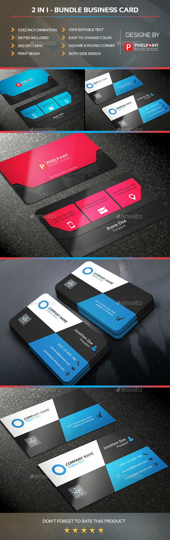 2 in 1 Bundle Business Card - Business Cards Print Templates