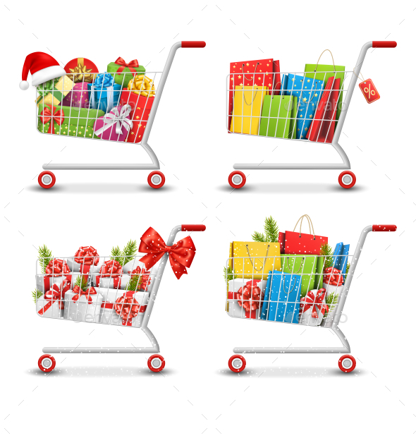 Christmas Sale Shopping Carts with Gift Boxes Bags - Seasons/Holidays Conceptual
